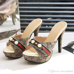 2019 offene zehefersen Sommer Frauen Designer High Heel Rutschen Open Toe Pu Leder High Platform Sandalen Schuhe Damen Luxus Mode Hausschuhe Sandalen günstig offene zehefersen
