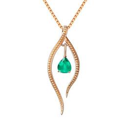 Jadeite colares on-line-New Feminino Natural Jadeite Gota De Água Pendurado 18 K Ouro Gem Clavícula Colar Atacado
