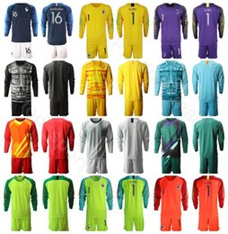 france soccer kit Promo Codes - Goalkeeper GK Long Sleeve France 16 Steve Mandanda Jersey Set Goalie Soccer 1 Hugo Lloris 23 AREOLA Football Shirt Kits Uniform