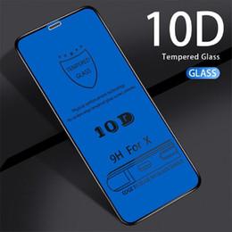 Vidro i6 on-line-10D filme de vidro temperado protetores de tela borda da tampa completa 3D para iphone 11 pro 5s i6 X 6 6s 7 8 Plus Xs Max com polybag 100PCS PACK