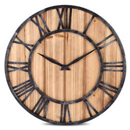 disegni cerchio a parete Sconti Orologio da parete in metallo tondo in legno massello stile vintage europeo