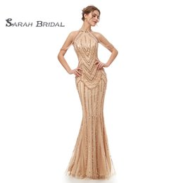 jewel maxi dress Promo Codes - 2019 Luxury Champagne Sheath Long Beads Evening Dresses Sexy Crystals Mermaid Party Maxi Dress Prom Gowns Floor Length 5404
