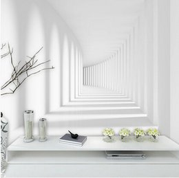 2019 espace papier peint pour les murs Photo en 3D Grandes peintures murales abstraites pour Salon Trois dimensions Promenade Space Mural Papier Peint Moderne Blanc espace papier peint pour les murs pas cher