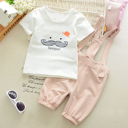 621f1f9a05 bebe boy suit Coupons - Summer Baby Boys Cartoon Mustache T -Shirts  +Striped Overalls
