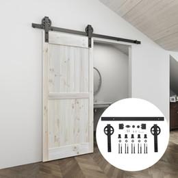 Rodillos de la puerta deslizante de acero online-interior de acero / 6 pies / 6,6 pies Negro de Carbono 4.9ft rusa Big percha de deslizamiento hardware de la puerta del granero