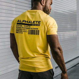 Männliche muskelkurzschlüsse online-ALPHALETE Mens-Sommer-Fitness-Studios Casual T-Shirt Crossfit Fitness Bodybuilding Muskel-Männer kurzärmelige T-Shirts aus Baumwolle Tops Bekleidung