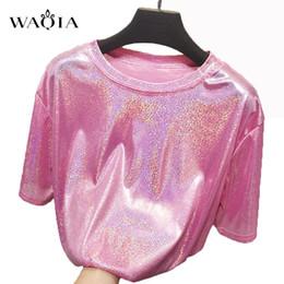 8605ff274 WAQIA New Summer Retro Stylish Bright Silk Woman Tops Shiny Loose Short  Sleeve T-shirt Sexy Club Aesthetic Harajuku Women Tshirt