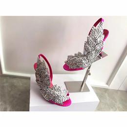 zapatos de boda personalizados Rebajas Lentejuelas tacones de aguja sandalias rhinestone con cuentas tacones altos alas de satén de seda zapatos de trabajo zapatos de boda personalizados verano