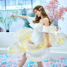 взрослый пул Скидка 2019 new adult giant inflatable swimming ring female sequins wreath floating ball pool toy water mattress Boia buoy