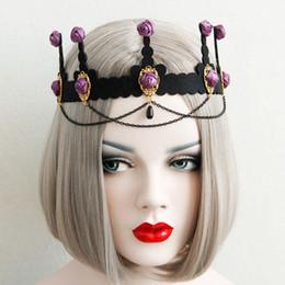 Pelo de la borla de la borla online-Uk Palace Rose Tassel Headband Baroque Princess Purple Rose Bronce Chain Tassel Headbands Magnificent Palace Ladies Accesorios para el cabello