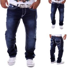 joggeurs pour hommes hip-pop Promotion Jeans Homme Bleu Jogger Droit Jeans En Coton Denim Botton Casual Fitness Hip Pop Designer Jeans