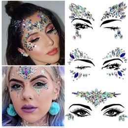 pelota alegre Rebajas Belleza herramienta 3D Crystal Eye Gems tatuaje pegatinas Cristal Joyas Cuerpo del partido del festival brillo de la cara de los ojos pegatinas tatuaje de maquillaje de fantasía