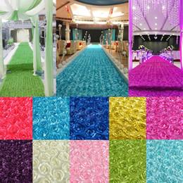 Backdrops blau online-Neue 140 cm Breite Satingewebe 3D-Rosen-Blumen-Aisle-Läufer Ehe Teppich Vorhang Hochzeit Partei Kulisse Dekoration