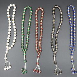 Deutschland 2019 neue Design Mix Farbe Großhandel Natürliche Schmuck Buddhist 33pcsX12mm Gebet Rosenkranz Meditation Perlen Charm Armband Versorgung