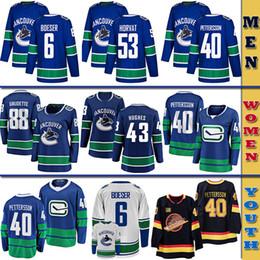 2019 sudadera azul marino para hombre Vancouver Hombres Mujeres Jóvenes Niños Canucks Jersey de encargo 40 Elias Pettersson 43 Quinn Hughes 53 Bo Horvat 6 Brock Boeser los jerseys del hockey
