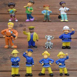 Pompier sam jouets en Ligne-12pcs / lot Fireman Sam Action Figure Jouets 3-6cm PVC de bande dessinée Modèle de poupées Collection Jouet Pour Enfants Cadeau D'anniversaire