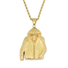 Куртки с ожерельем онлайн-хип-хоп череп куртка кулон ожерелья для мужчин золотой скелет роскошные ожерелье из нержавеющей стали кубинские цепи ювелирные изделия бесплатная доставка