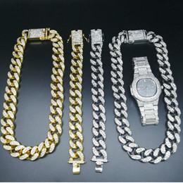 Amplificatore d'oro online-Braccialetto della collana di due centimetri di Hip Hop Gold Watch Jewelry catena cubana di cristallo Miami Iced Out Oro Argento Men Watch Set Re Nuovo MX190730