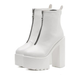 heel white punk Coupons - Women Super high heel ankle boots no strappy High - heeled 15 cm spring autumn casual ankle black white boots Punk Shoes