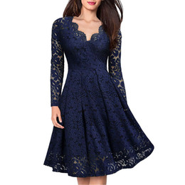 52d5eff28e Women Elegant vintage Sexy V Neck Floral Lace evening long sleeve Slim  Tunic Work office Casual Party Swing Skater A-Line Dress