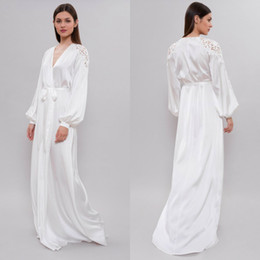 Frauen weißen pyjamas online-Weißer Seidenbademantel für Bridal Dessous Nachthemd Pyjamas Sleepwear Womens Winters-Dressing-Kleider Housecoat Nightwear Lounge Wear