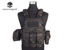 Chaleco negro airsoft online-Emersongear LBT6094A Chaleco táctico estilo con 3 bolsas Caza Airsoft Military Combat Gear Multicam Negro EM7440MCBK # 256155