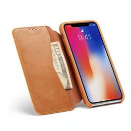 Iphone leder flip case braun online-Pu leder flip case für iphone x xs auto magnet handy abdeckung für iphone 7 8 6s xs max fällen fundas brown