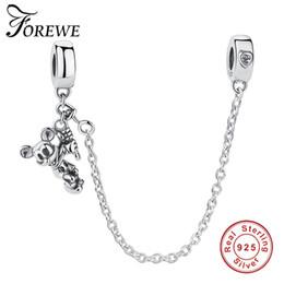 2019 conexiones encantos FOREWE 925 Conexión de plata esterlina Cadena de seguridad Charm Fit BraceletBangle Corazón en forma de joyería de plata esterlina conexiones encantos baratos