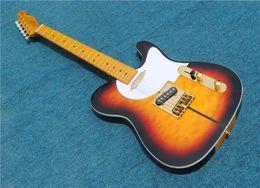james hetfield гитарные струны Скидка Бесплатная доставка высокое качество табака Sunburst электрогитара с желтым кленовым грифом, золотой фурнитурой, шея через тело, могут быть настроены