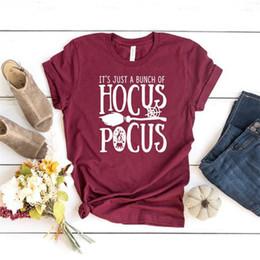 Abbigliamento moda delle signore online-Magliette da donna firmate Hocus Pocus sciolte o collo lettere lettere stampate da donna moda estate abbigliamento femminile