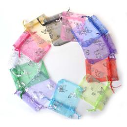 Mariposa de embalaje de regalo online-Envío libre, bolsos de la mezcla Diseño de la bolsa del Organza del regalo plateado mariposa bolsas, para regalo de boda del embalaje de la joyería, 9x12cm Tamaño