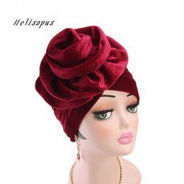 2019 chapeau de turban féminin Helisopus Nouveau Velours Turban Chapeau Femmes Élégant Musulman Élastique Chapeau Mode Femme Perte De Cheveux Turban Chemo Cap Cheveux Accessoires