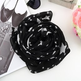 bufanda de gasa estrellas blanca Rebajas Bufanda negra de las estrellas blancas de las mujeres bufanda de la gasa del mantón grande suave cómoda moda todas las estaciones bufandas de la necesidad de la necesidad