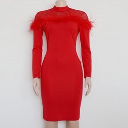 2019 New Party Dress Women Fashion Feather Beading Dresses Sexy Turtleneck  Nightclub Wear Black Red Dresses Lady Vestidos 1660fd5ab