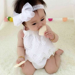Niño recién nacido infantil bebés niñas de encaje mameluco del verano sin mangas correas mono traje de sol de flores bebé niña ropa 0-18 m desde fabricantes