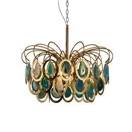 Restaurant deckenbeleuchtung online-Moderne Kronleuchter Luxus Achat Pendelleuchte E14 Kreative Blau Restaurant Decke Hängende Beleuchtung Dekoration Leuchte