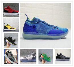 Недорогие новые кефирные сапоги онлайн-Новый дешевый 2018 KD 11 прохладный серый параноидальный EYBL баскетбол обувь KD 11s мужчины Кевин Дюрант кроссовки