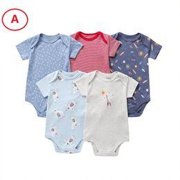Vestiti neonati per l'estate online-Boutique Newborn Baby boy Vestiti per ragazza Pagliaccetto Onesies Manica corta 5 PZ PACK 100% Cotone 3 6 9 12 18M 2019 Summer Wholesale