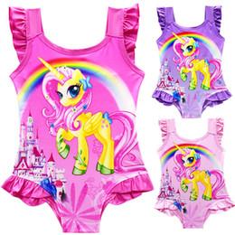 Traje de baño para chicas nuevas online-2019 Nuevo traje de baño de verano para niños Dibujos animados Rainbow Unicorn Girls SwimSuits Trajes de baño de una pieza Beach Swim Bikinis boutique para niños Ropa