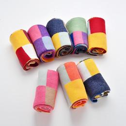 estola Rebajas Niños bufanda otoño invierno coloreado comprobado punto lana bufanda nuevo estilo niños niñas bebé cálido moda dulce bufanda