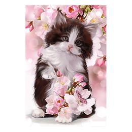 Diamante 5d diamante fiore rotondo online-kexinzu 5d fai da te diamante pittura fiore gatto ricamo pieno quadrato pietra rotonda perline diamant punto croce mosaico regalo