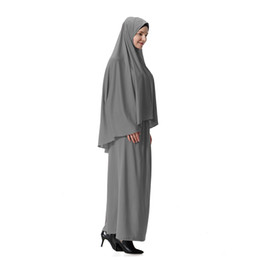 islamic dresses hijab Promo Codes - Formal muslim Prayer Garment Sets hijab dress abaya afghanistan islamic clothing namaz long prayer hijab moslim jurken abayas