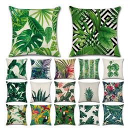 Taie d'oreiller en lin vert en Ligne-Plantes tropicales Cactus Monstera Été Décoratif Coussins Couvre-Coussin En Lin Coton Palm Leaf Vert Décor À La Maison Taie D'oreiller