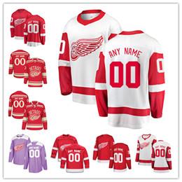 Kronwall hóquei camisas on-line-Os fanáticos feitos sob encomenda do jérsei das asas vermelhas de Detroit marcaram as camisas do hóquei em gelo de Tyler Bertuzzi Gordie Howe Niklas Kronwall