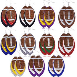 2021 homens penduram brinco 11 Cores Rugby Multistorey único Multicolor Dangle Drop Leather Earings for Men and Women Ball Shaped Sport Earings Gift