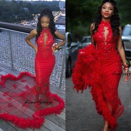 adulto fora do ombro vestido de noite Desconto Red sereia Vestidos de baile 2019 Feathers Modest ocasião Vestido Partido Pageant Vestidos Especial vestido Dubai 2k19 Black Girl Casal Dia