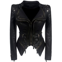 71ea6dd880d 2018 Coat HOT Women Winter Autumn Black Fashion Motorcycle Jacket Outerwear  faux leather PU Jacket Gothic faux leather coats