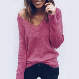 4198ea455 Womens Profundo Decote Em V Camisolas Sexy Primavera Inverno Manga Comprida  Backless Malha Tops Mulher Blusas de Cor Sólida blusas sexy para mulheres  barato
