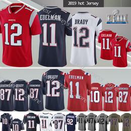 Jerseys patriotas on-line-12 Tom Brady New Englands 11 Julian Edelman Patriot NCAA 87 Rob Gronkowski 2019 new jersey pode corrigir