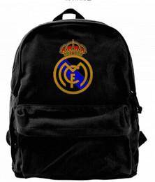 Homens faculdade futebol on-line-Real Madrid Espanha Futebol Futebol Moda Lona designer de mochila Para Homens Mulheres Adolescentes Faculdade Viagem Daypack Lazer saco Preto